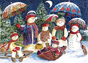 Jigsaw Puzzles 1000 Pieces for Adult Kids Teens, Snowman Family, Large Colorful Puzzle Set, Thick Sturdy Puzzles Piece Fit Together Perfectly, Puzzles Game for Educational Gift Family Lover 27x19 in