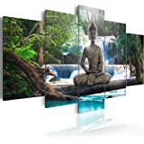 Impression sur toile 200x100 cm - Grand foramt - XXL - 3 couleurs ? Choisir - 5 Parties - Image sur toile - Images - Photo - Tableau - motif moderne - Décoration - pret a accrocher - Bouddha paysage naturee cascade arbre for?t Rose Orange c-A-0021-b-n 200x100 cm B&D XXL