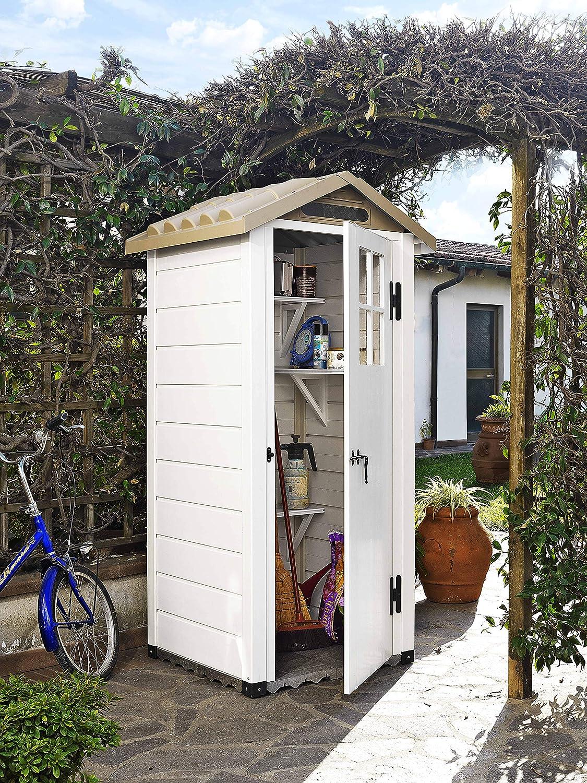 GARDIUN Caseta de Resina Tuscany EVO 80 Blanco/Beige 97x97x203 cm - KSP38200: Amazon.es: Jardín