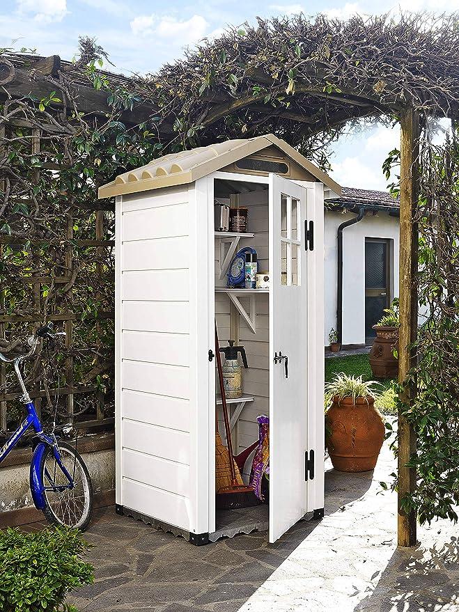 Gardiun - Caseta de Resina Tuscany EVO 80 Blanco/Beige 97x97x203 cm-KSP38200: Amazon.es: Jardín