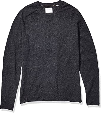 Billy Reid Men's Cashmere Silk Saddle Crew Sweater with Leather Elbow Patches