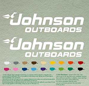 """Pair 12"""" Johnson outboards Decals Vinyl StickersWhite Vinyl Stickers Boat Outboard Motor Lot of 2"""