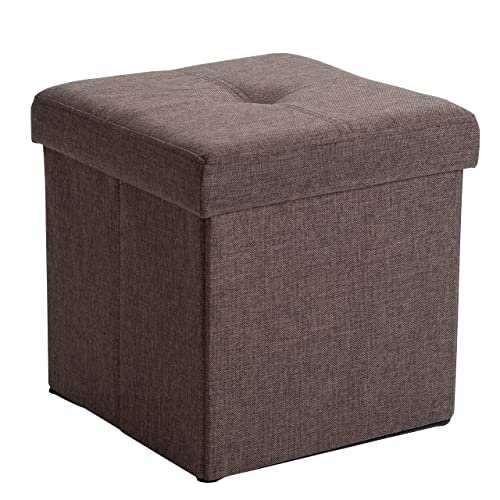 Simplify Linen Folding Storage Ottoman, Toy Box Chest, Tufted Padded Seating, Bench, Foot Rest, Stool, Single, Espresso