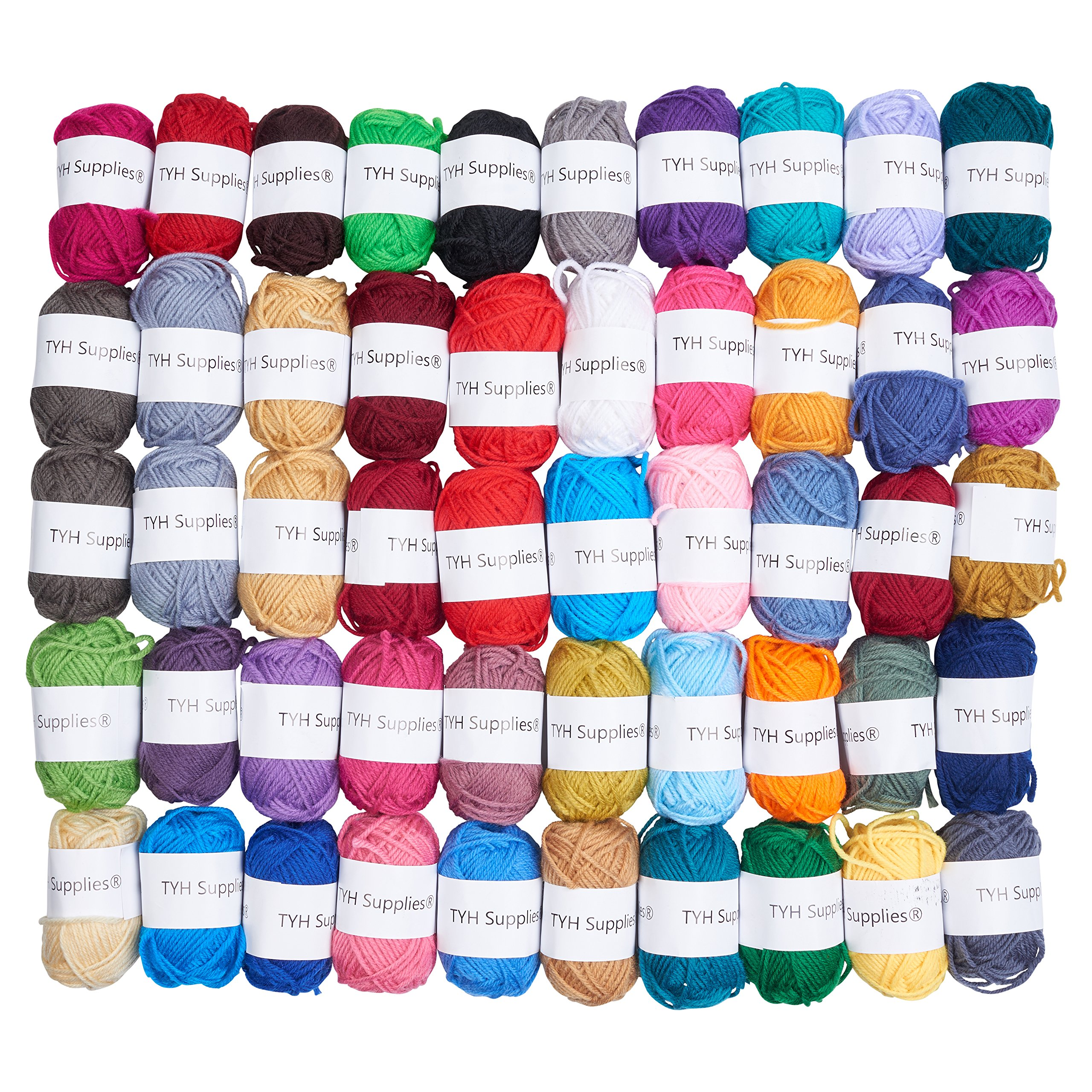 TYH Supplies 50-Pack 44 Yard Acrylic Yarn Assorted Colors Skeins - Perfect for Mini Knitting and Crochet Project