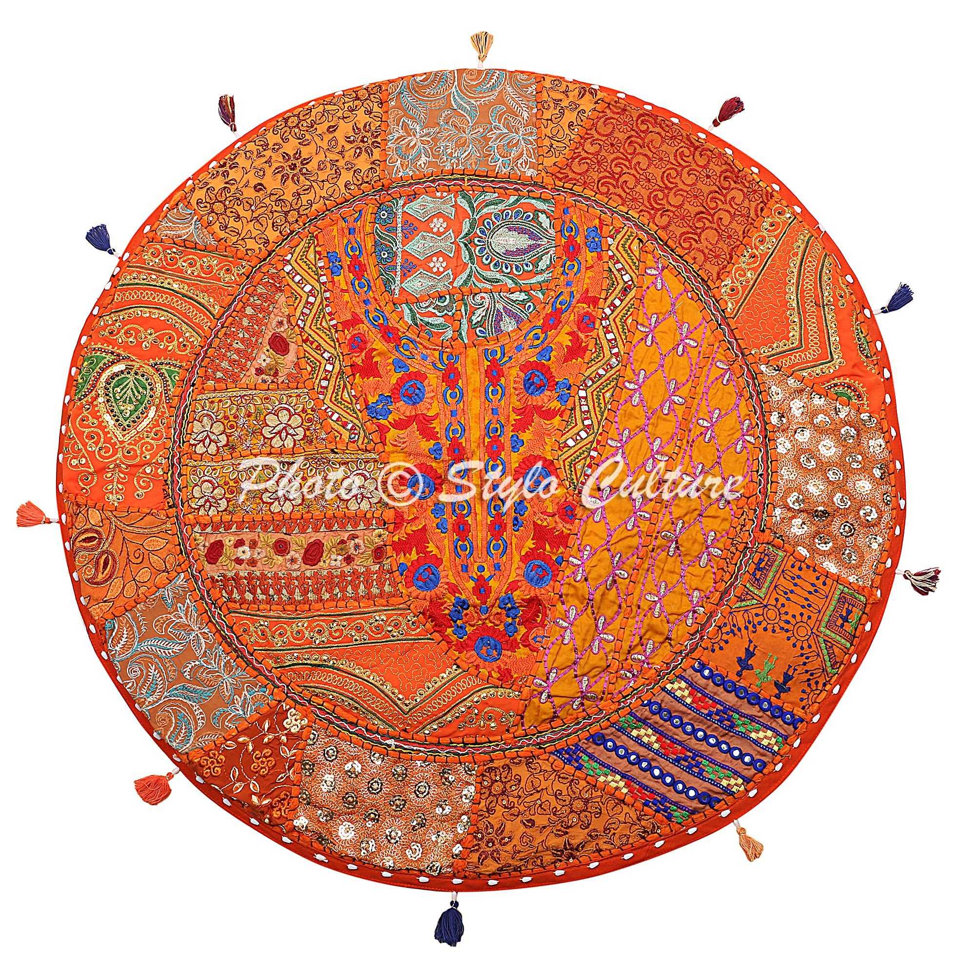 Stylo Culture Ethnic Cotton Large Floor Cushion Cover Seating Vintage Embroidered Patchwork Orange 32'' Indian Floor Pillow Cover