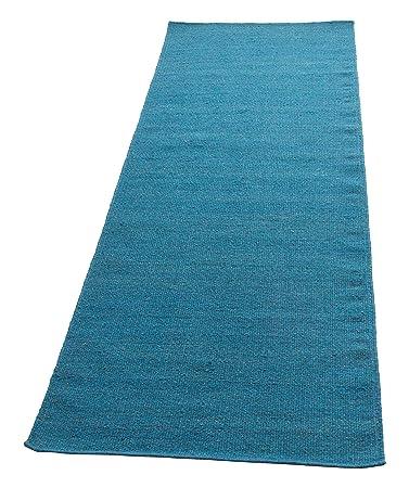 Parwis Kelim Uni Teppich Wolle Blau 80x200cm Amazon De Kuche