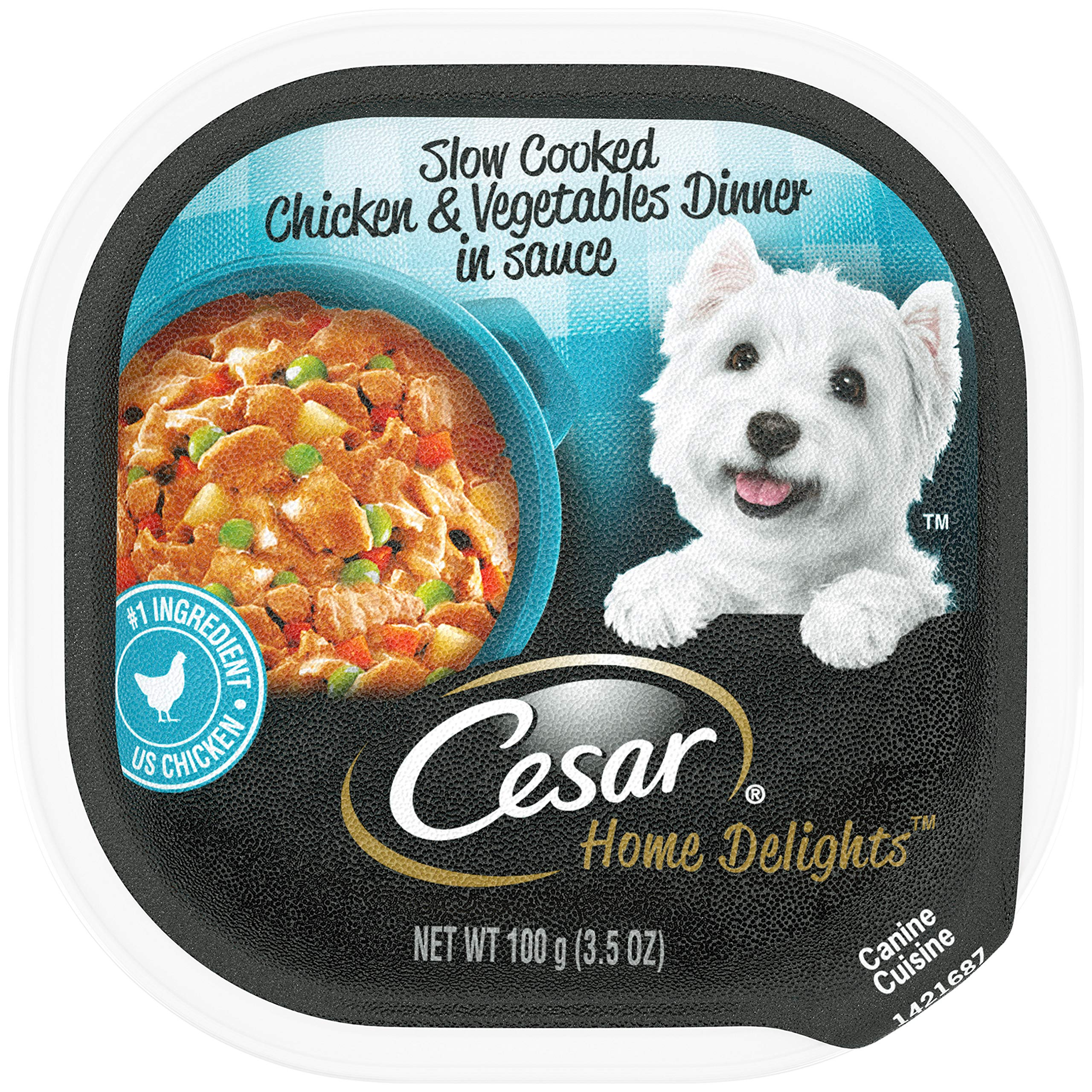 CESAR HOME DELIGHTS Soft Wet Dog Food Slow Cooked Chicken & Vegetables Dinner in Sauce, (24) 3.5 oz. Easy Peel Trays by Cesar