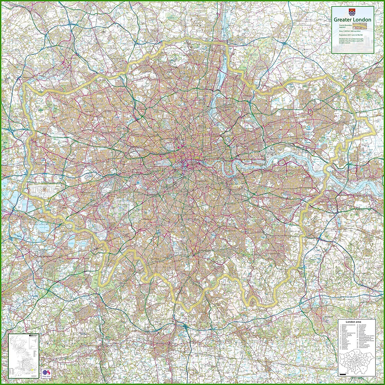 Map Of Greater London Area.Greater London Uk County Map 150 X 150 Cm Amazon Co Uk Office