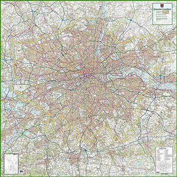 London Map Uk.Greater London Uk County Map 150 X 150 Cm Amazon Co Uk Office
