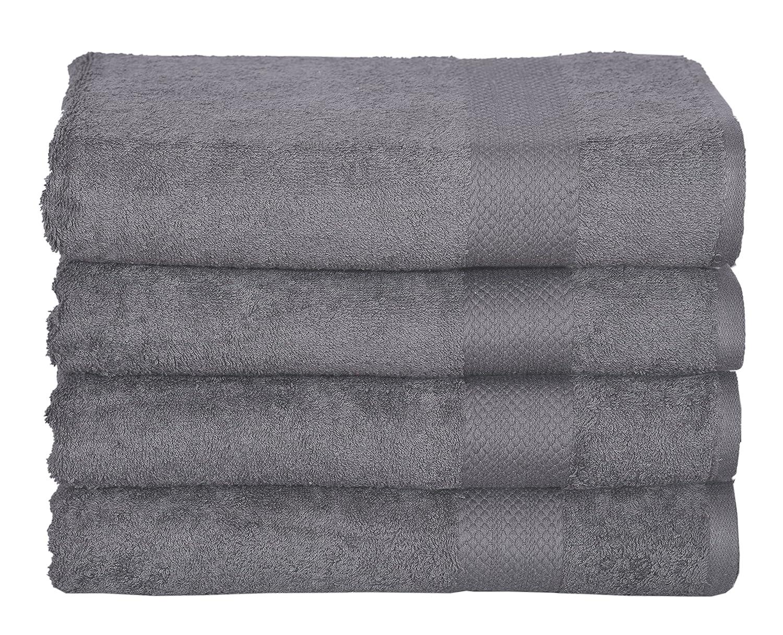 100% Cotton Towel Set, 4 Piece Bath Towel Set Turkish Towels, Quick Dry, Super Soft, Absorbent, Machine Washable, 27x 54 (White, 4 pc Set) KT Towels
