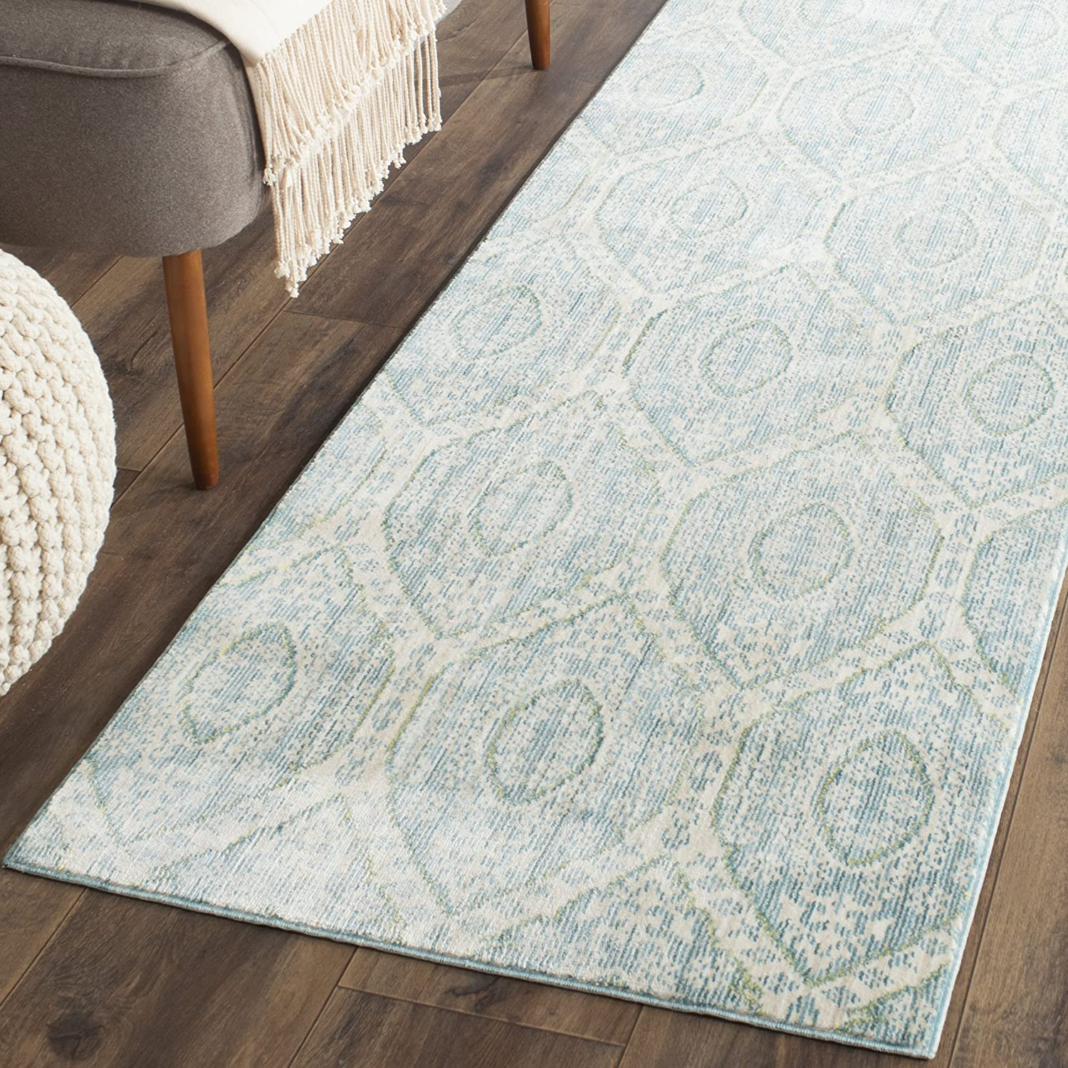 Amazon Com Safavieh Valencia Collection Val206j Boho Chic Distressed Runner 2 3 X 8 Alpine Cream Furniture Decor