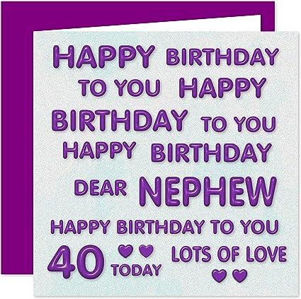 Pleasing Nephew 40Th Happy Birthday Card Happy Birthday To You Dear Personalised Birthday Cards Veneteletsinfo