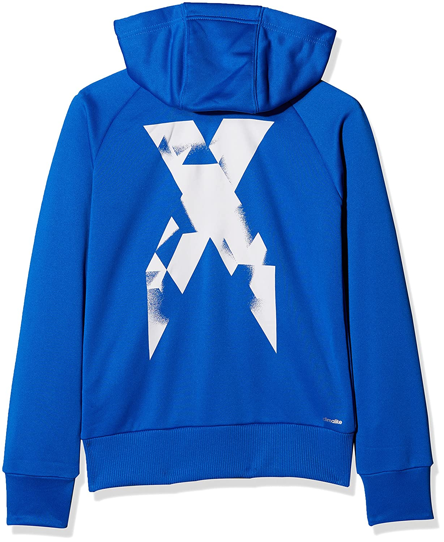 9cc140dd0b16 adidas Boys Yb X Full Zip Sweatshirt Blue  Azul  Blanco Size 176 ...
