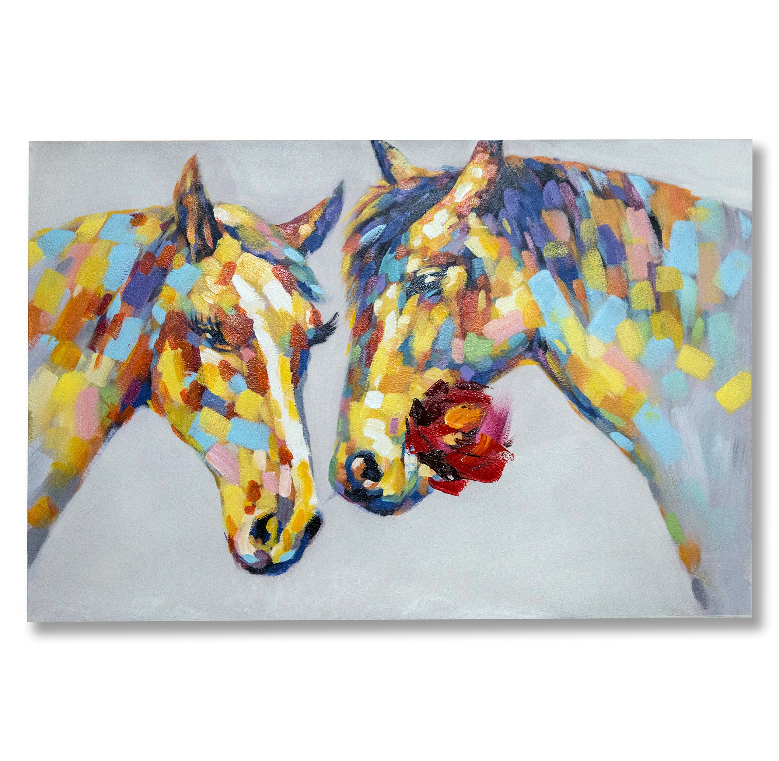 "In Liu Of | Modern Oil Painting on Canvas ""Two to Tango"" (Colorful Horses w/ Rose) Hand-Painted Fine Acrylic Animal Wall Art 
