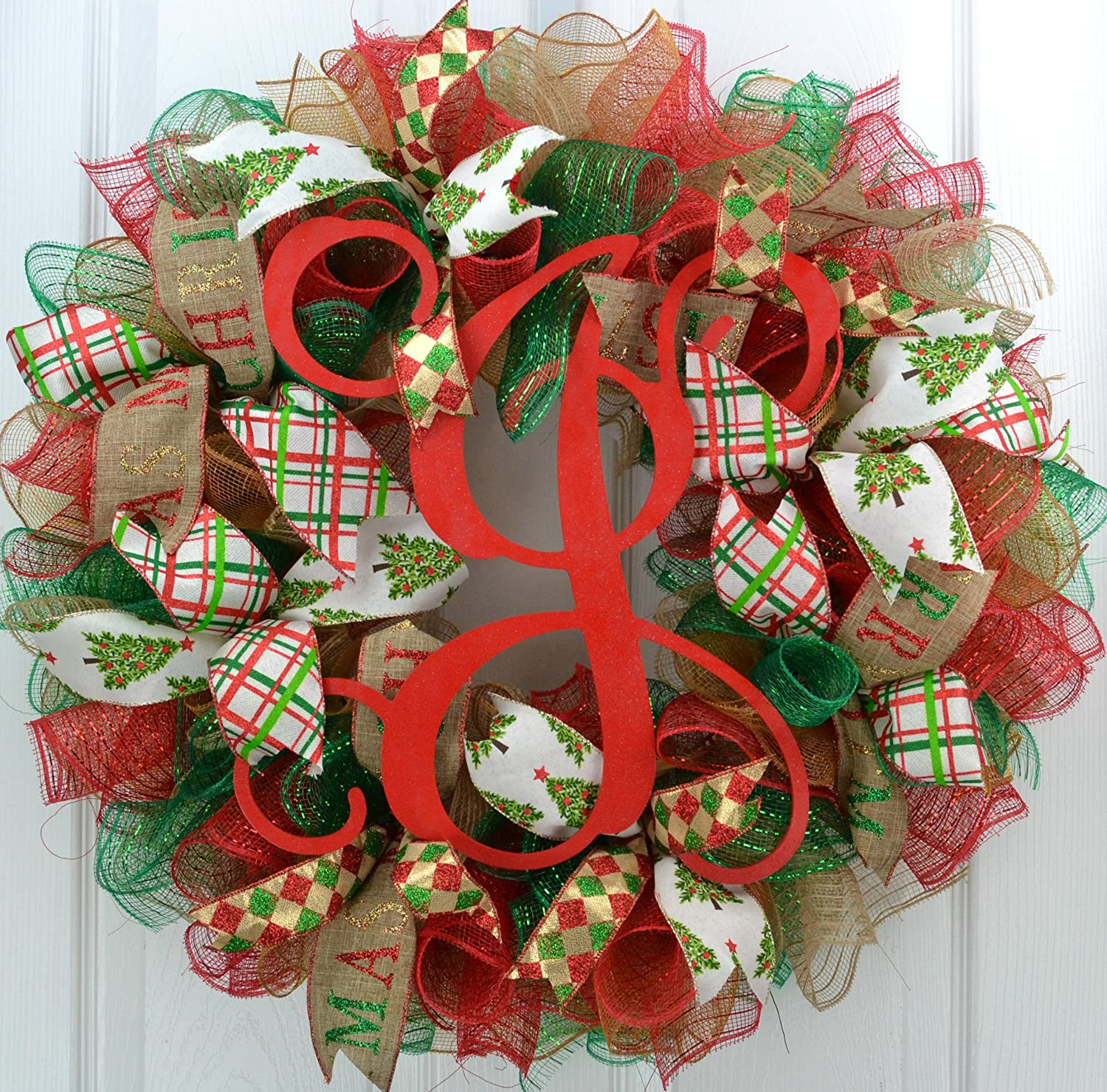 Monogram Christmas Wreaths Initial Letter Red Burlap Emerald Green Outdoor Front Door Wreath C5