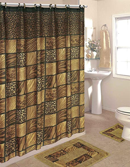 Leopard 15 Piece Bathroom Set: 2 Rugs/Mats, 1 Fabric