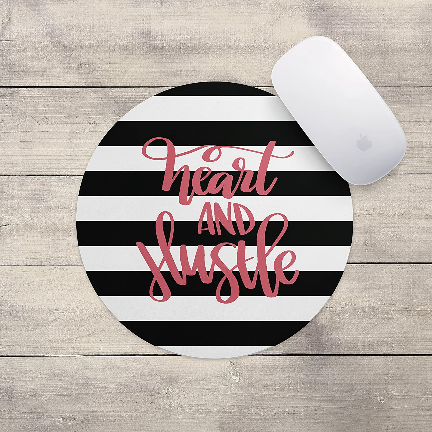 Neoprene Inspirational Quote Mousepad Computer Accessories Home Office Heart and Hustle Mouse Pad Office Space Decor