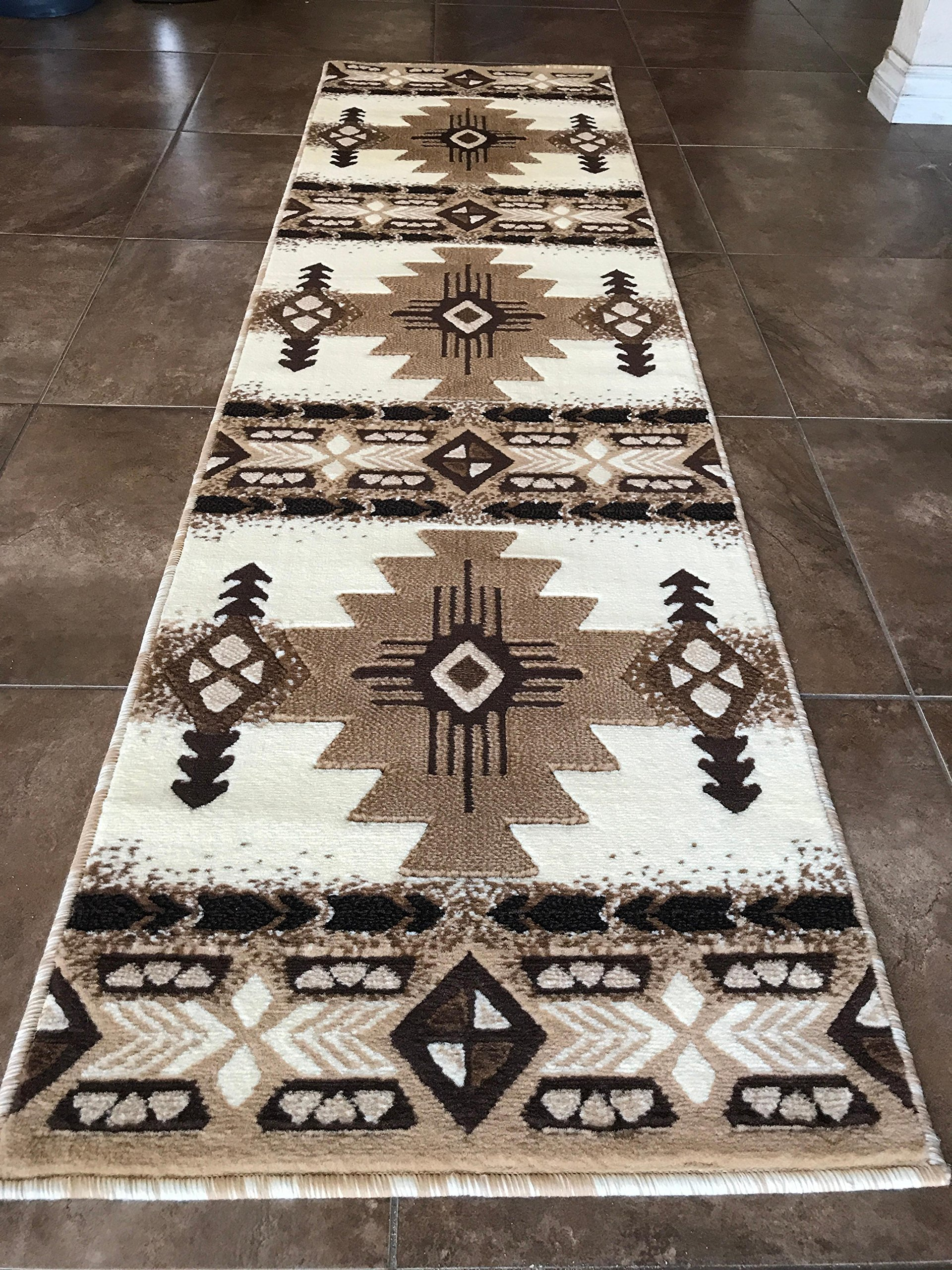 Southwest Native American Runner Area Rug Ivory Design