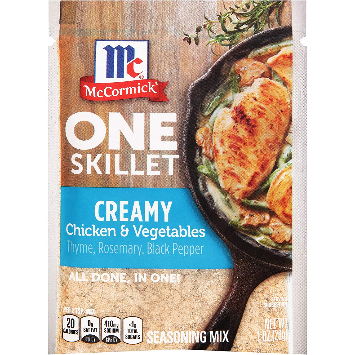 McCormick ONE Skillet Creamy Chicken & Vegetables Seasoning Mix, 1 oz (Pack of 12)