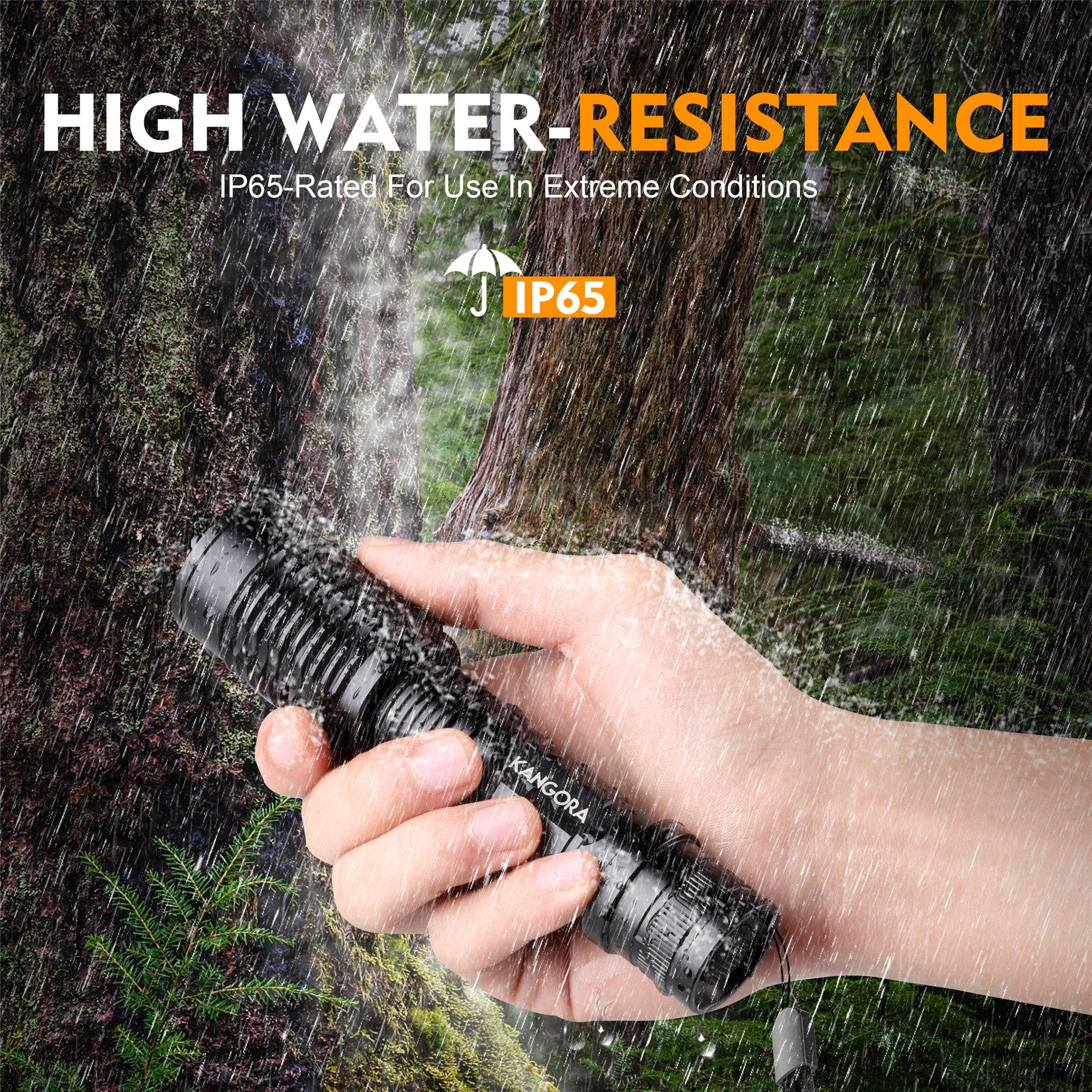 KANGORA LED Flashlight Kit - 5 Modes - Water-Resistant Handheld Flashlights with Rechargeable 18650 Battery Charger for Camping, Hiking, Cycling, and Emergency Search Missions by KANGORA (Image #6)