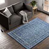 Amazon Brand – Stone & Beam Modern Rich Detailed Area Rug, 5 x 7 Foot, Dark Blue