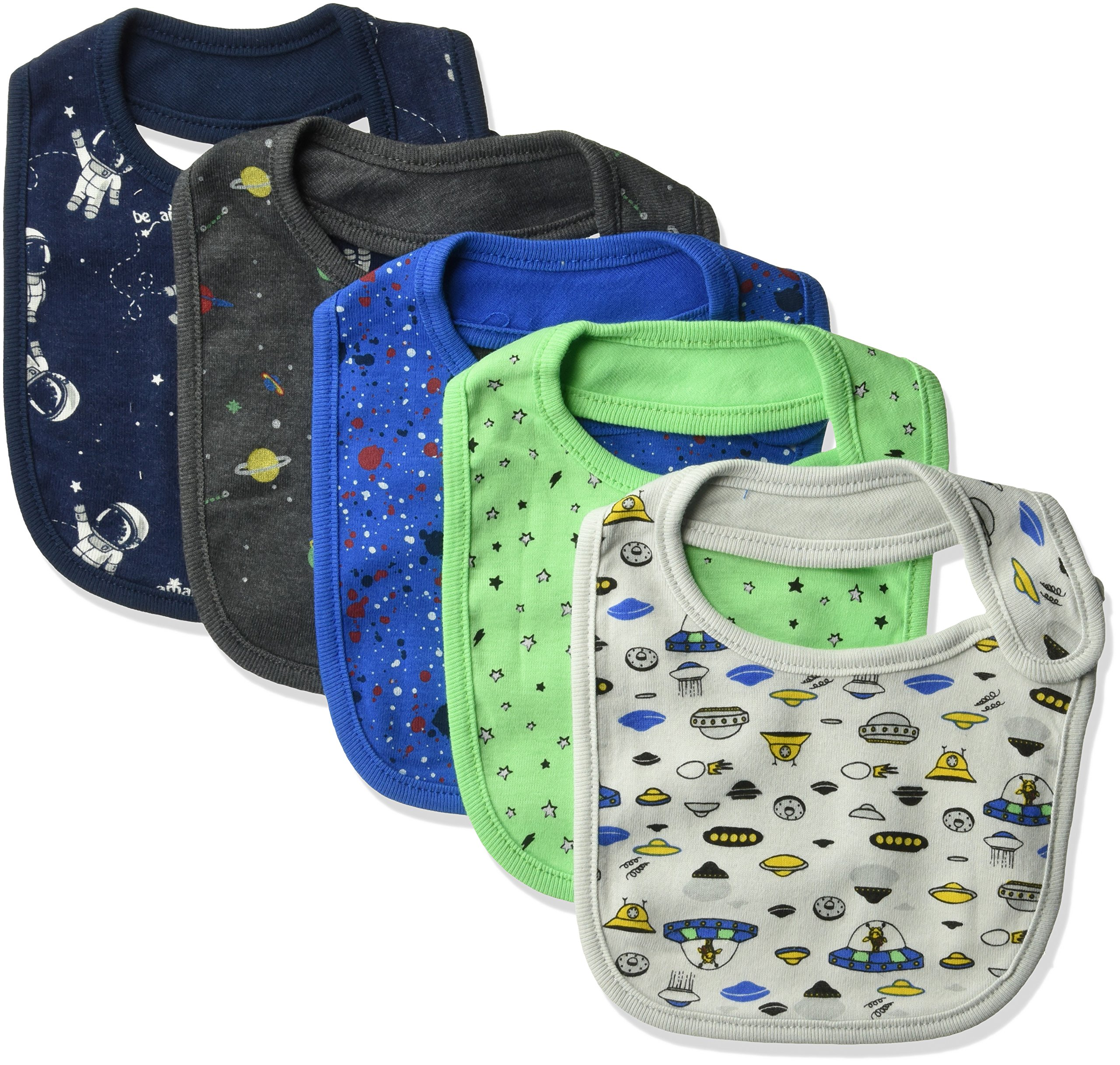 Rosie Pope Baby Boys Bibs 5 Pack, Space Theme, One Size