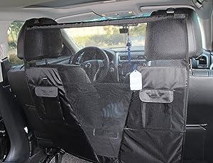 SCENEREAL Pet Dog Net Vehicle Barriers - Backseat Mesh for Cars Vehicles SUV Vans Trucks Adjustable Frontseat Belts Safe & Durable