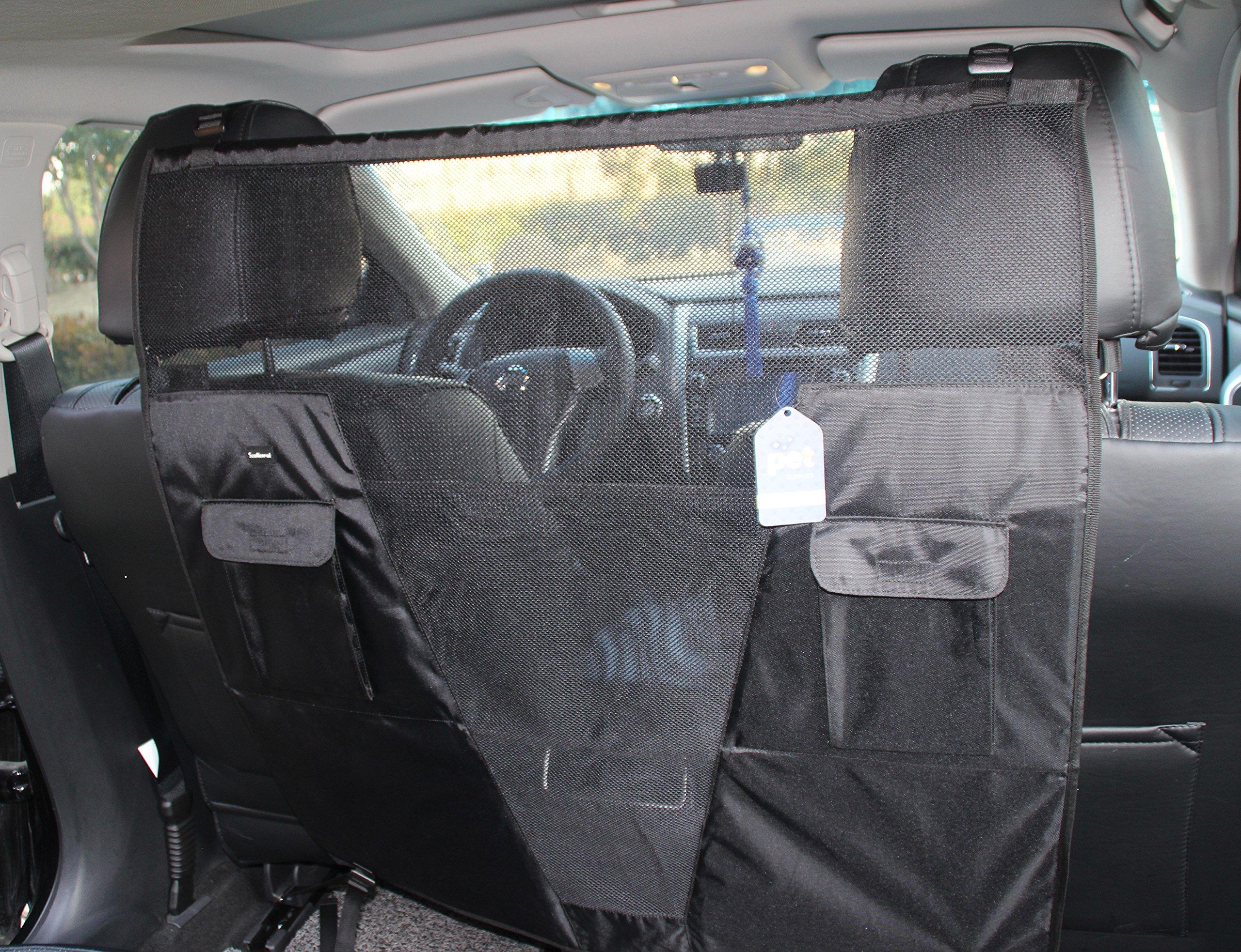 SCENEREAL Pet Dog Net Vehicle Barriers - Backseat Mesh for Cars Vehicles SUV Vans Trucks Adjustable Frontseat Belts Safe & Durable by SCENEREAL