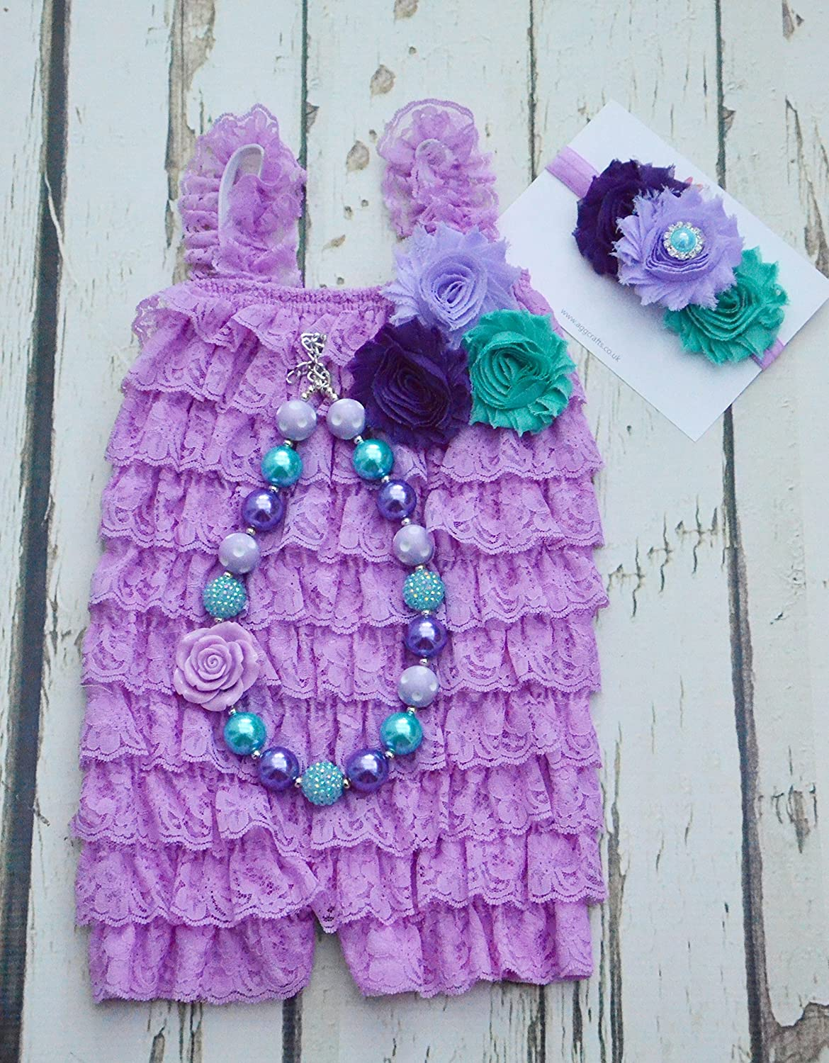 a3a4f4592 Lavender lace romper set: Amazon.co.uk: Handmade