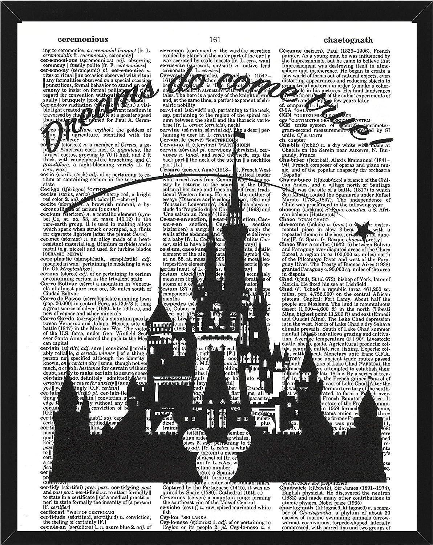Signature Studios Walt Disney Castle Quote Dictionary Art Print Silhouette Wall Decor Photo upcycled Mixed Media Art 8x10