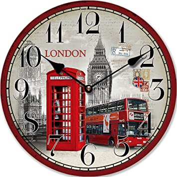 top horloge murale design londres carte postale cabine rouge cm tinas collection with horloge. Black Bedroom Furniture Sets. Home Design Ideas