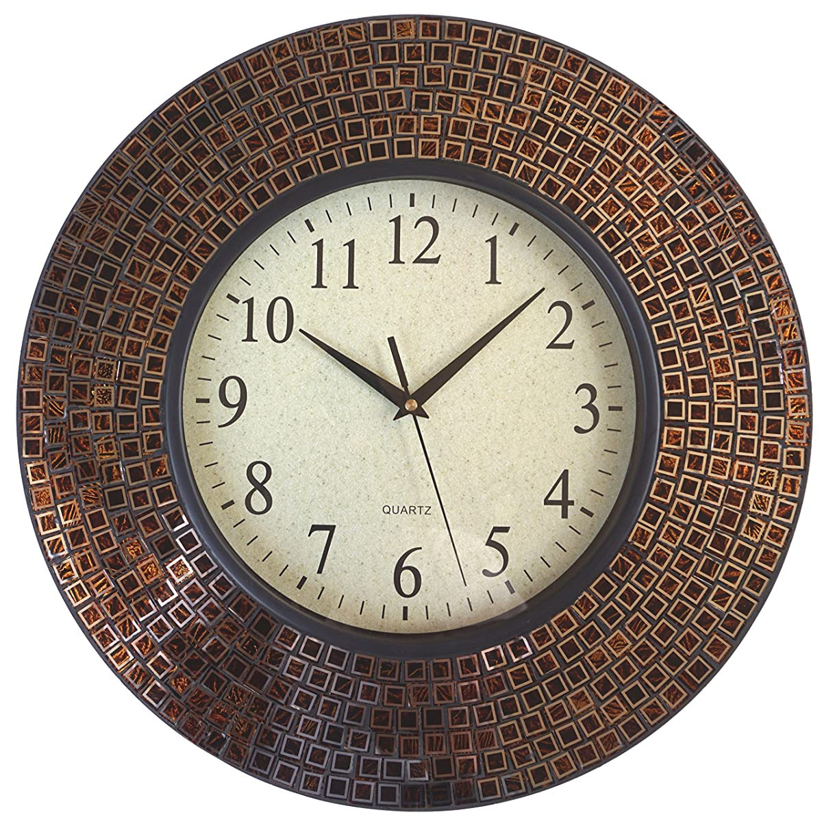 "LuLu Decor, 16"" Amber Checkered Mosaic Wall Clock with 9.5"" Glass Dial, Silent Movement for Living Room & Office Space(LP80)"