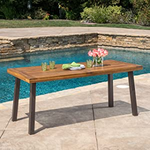 Christopher Knight Home Della Acacia Wood Dining Table, Teak Finish With Rustic Metal