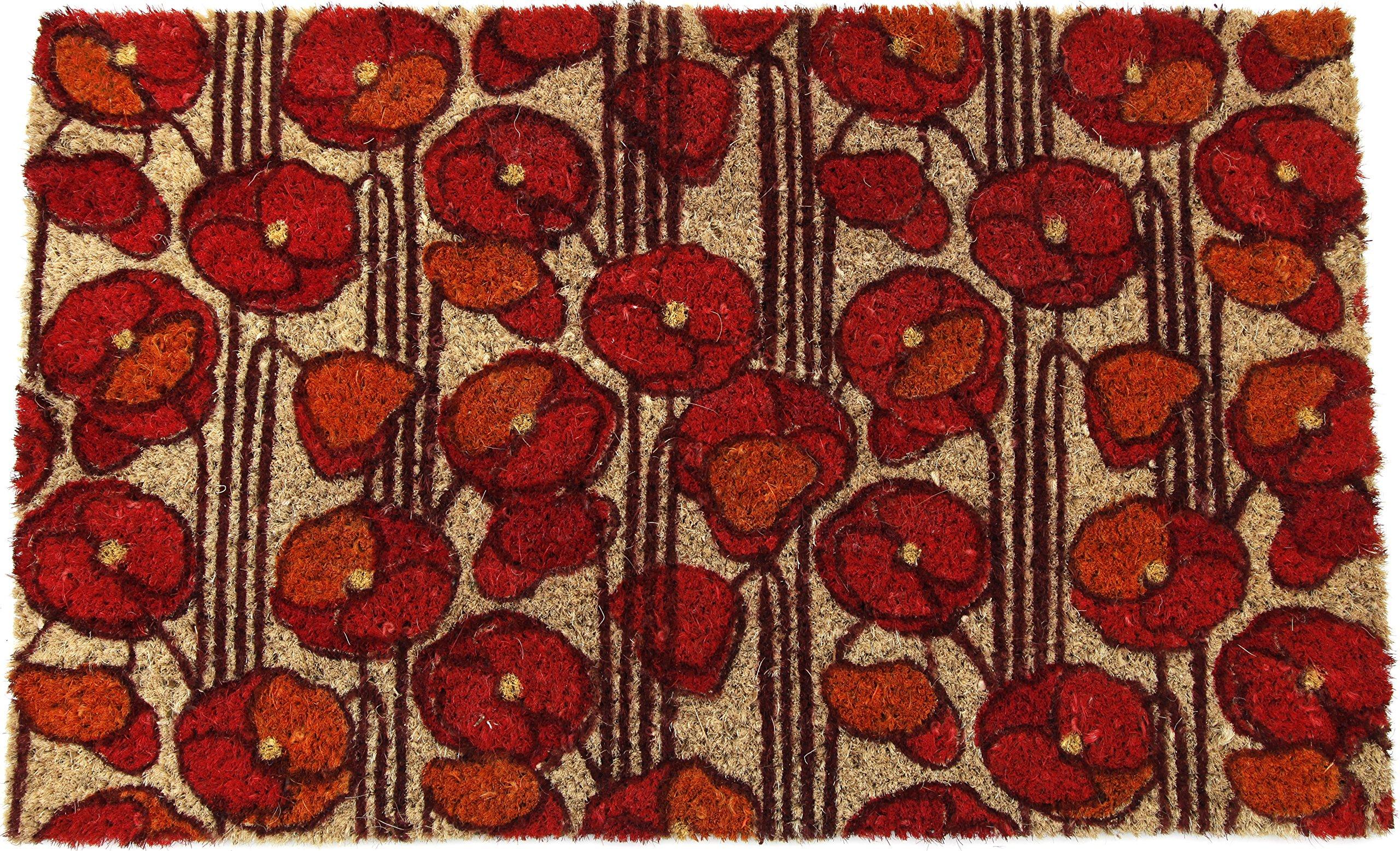 Entryways Poppies Non- Slip Coconut Fiber Doormat 17'' X 28'' X .5''