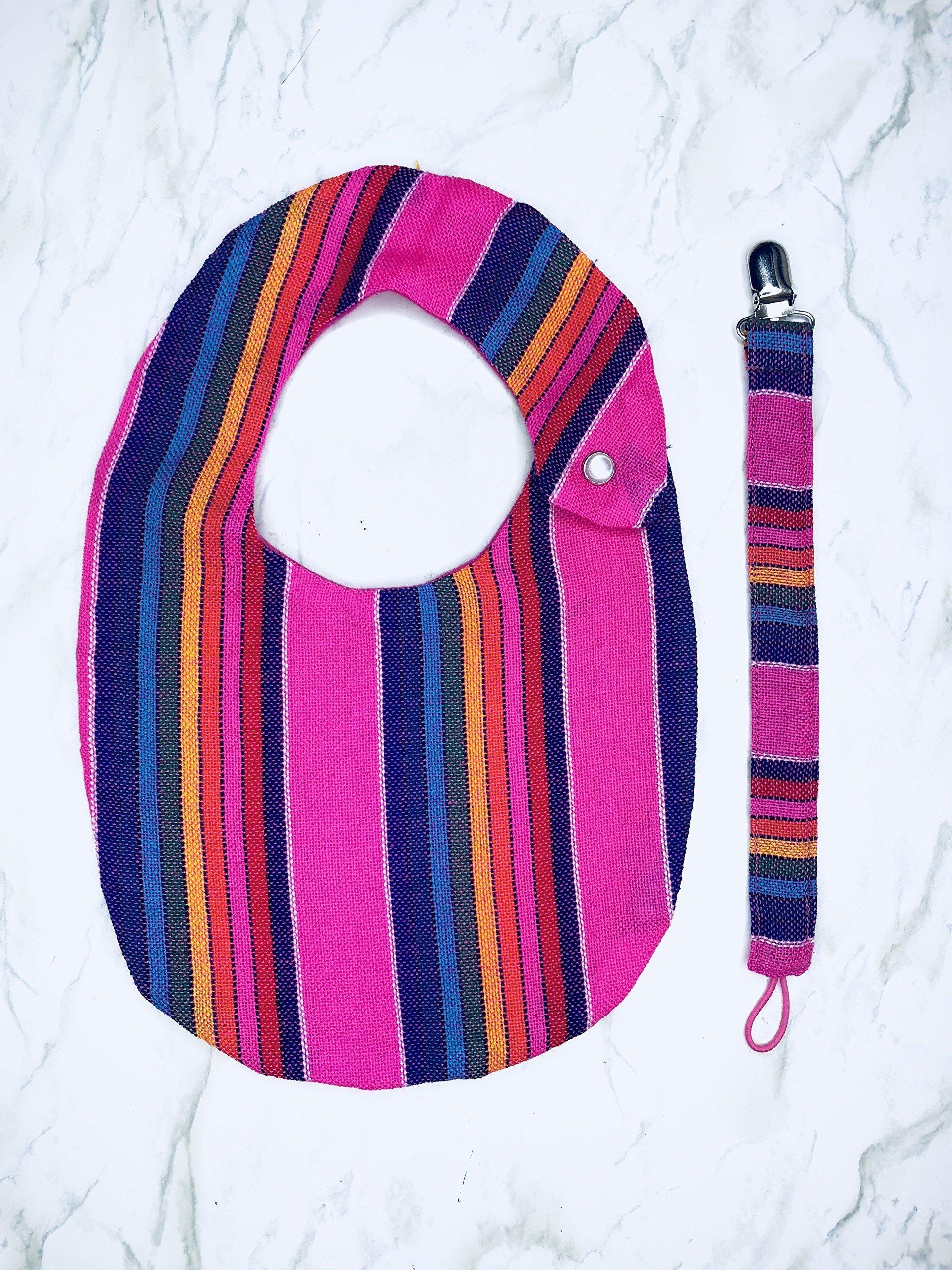 Pink Stripe Bib Set with Pacifier Clip