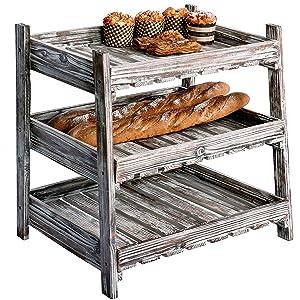 MyGift Multipurpose 3-Tier Country Rustic Wood Crate Design Tabletop Organizer Display Rack