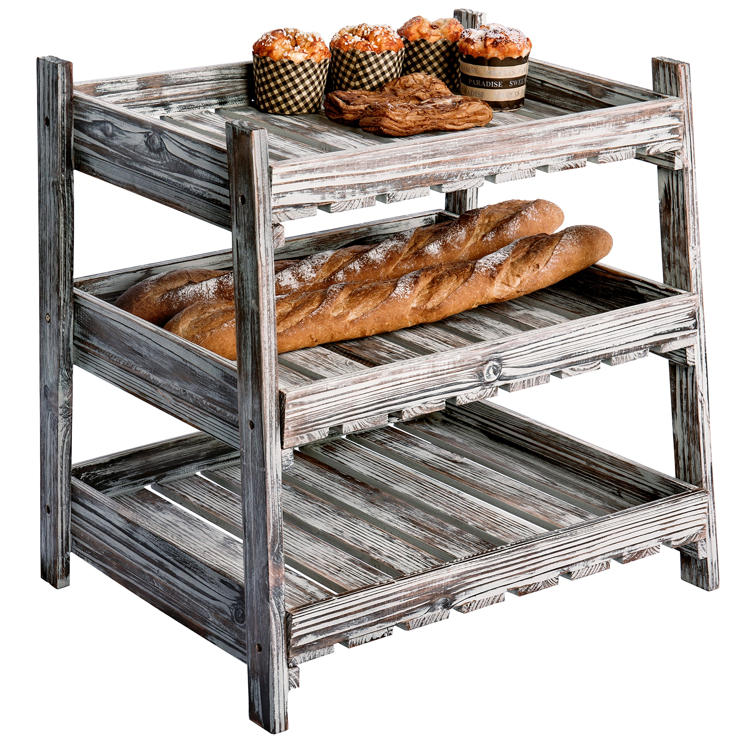 Country Rustic Wood Crate Design Display Rack with 3 Cascading Shelves