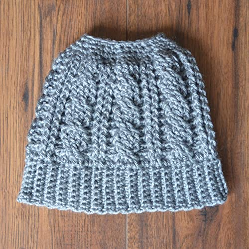Amazon.com  Cable Messy Bun Hat in Grey  Handmade c3935b09074