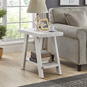 Roundhill Furniture Athens Contemporary Wood Shelf Side Table, White