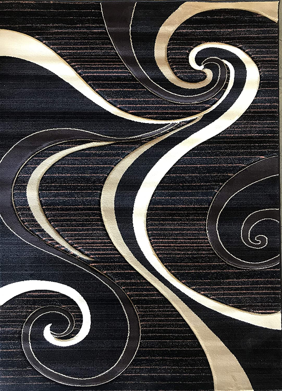 Contempo Modern Door Mat Contemporary Area Rug Purple & Black Abstract Swirl Design 341 (2 Feet X 3 Feet 4 inch) #341