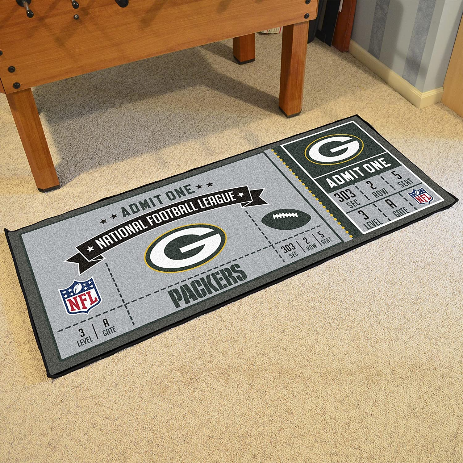 One Size Team Color FANMATS NFL Green Bay Packers NFL-Green Packersticket Runner