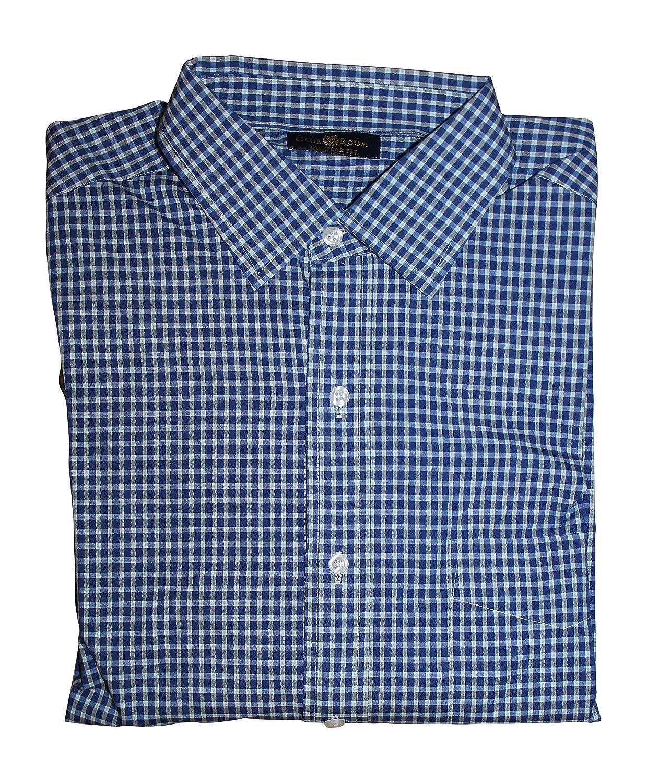 Club Room Mens Fashion Us French Plaid Dress Shirt 155 3435 Blue