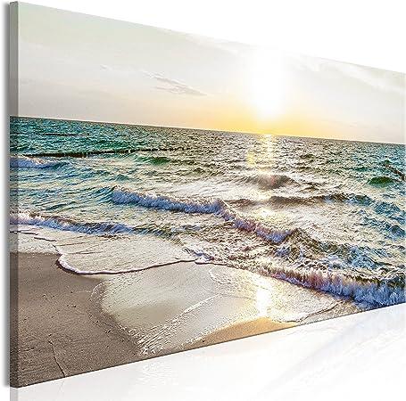murando Quadro Spiaggia Mare 120x40 cm Stampa su Tela in TNT XXL Immagini Moderni Murale Fotografia Grafica Decorazione da Parete 1 Pezzo Paesaggio Natura c-B-0358-b-a