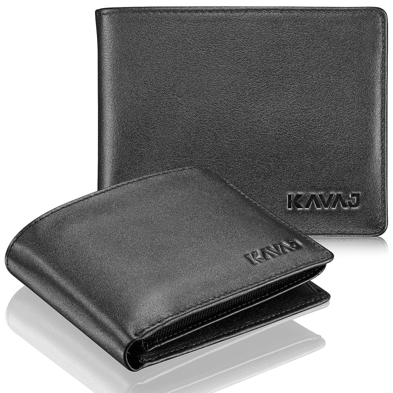 KAVAJ, Portafoglio con portamonete in vera pelle nero Oslo o marrone Cognac con protezione RFID. Nero