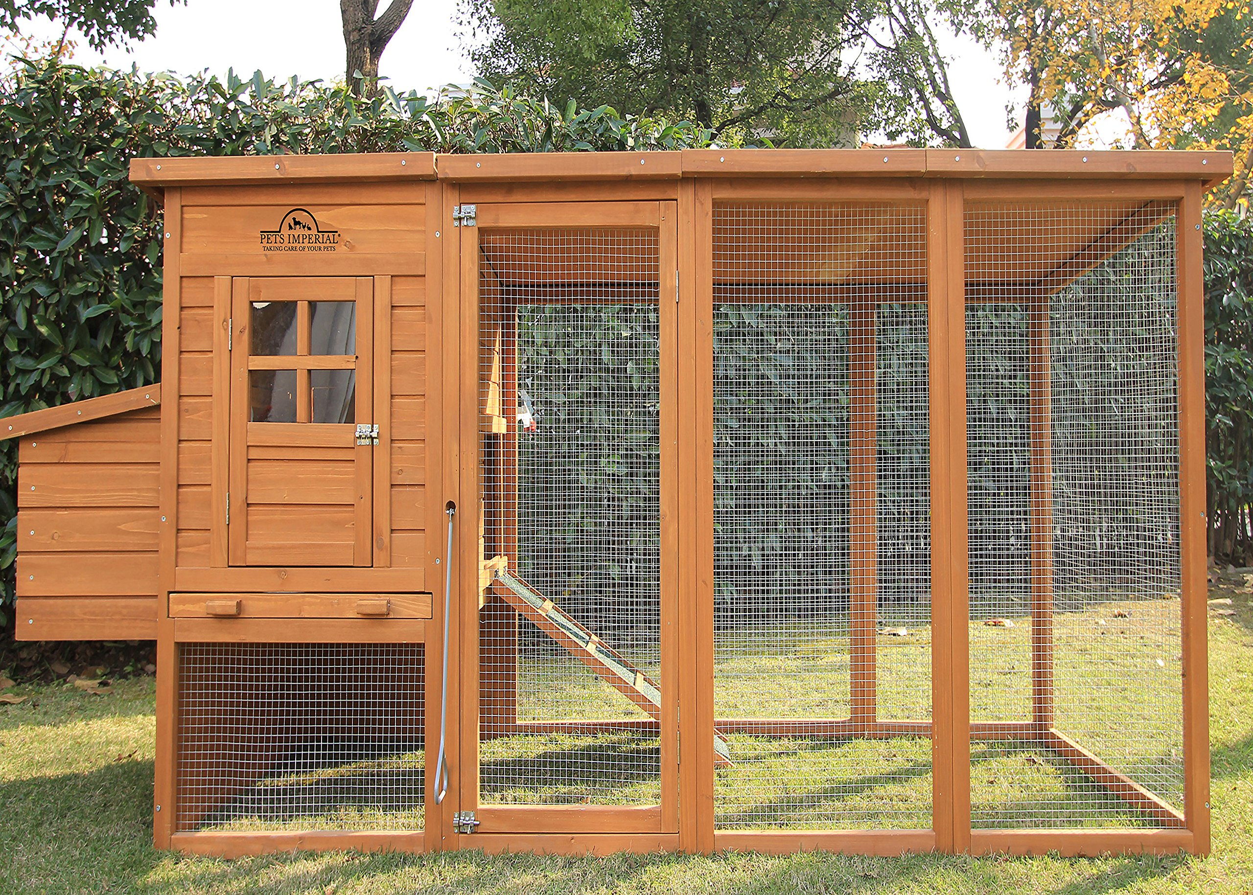 Pets Imperial Arlington Chicken Coop With Extra Long Run 8ft 2'' & Asphalt Roof Suitable For 4/6 Birds Depending On Size