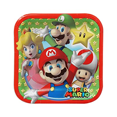 "Super Mario Brothers Square Plates, 7"", Party Favor: Toys & Games [5Bkhe1402672]"