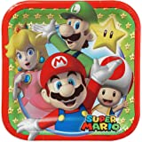 """Super Mario Brothers Square Plates, 7"""", Party Favor"""