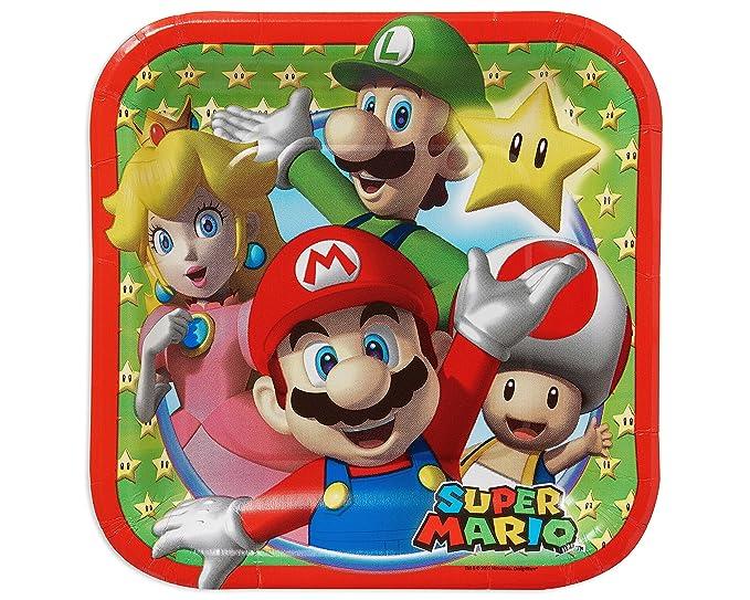 Amscan – 541554 Platos de Papel, Cuadrados, 18 cm, diseño de Super Mario