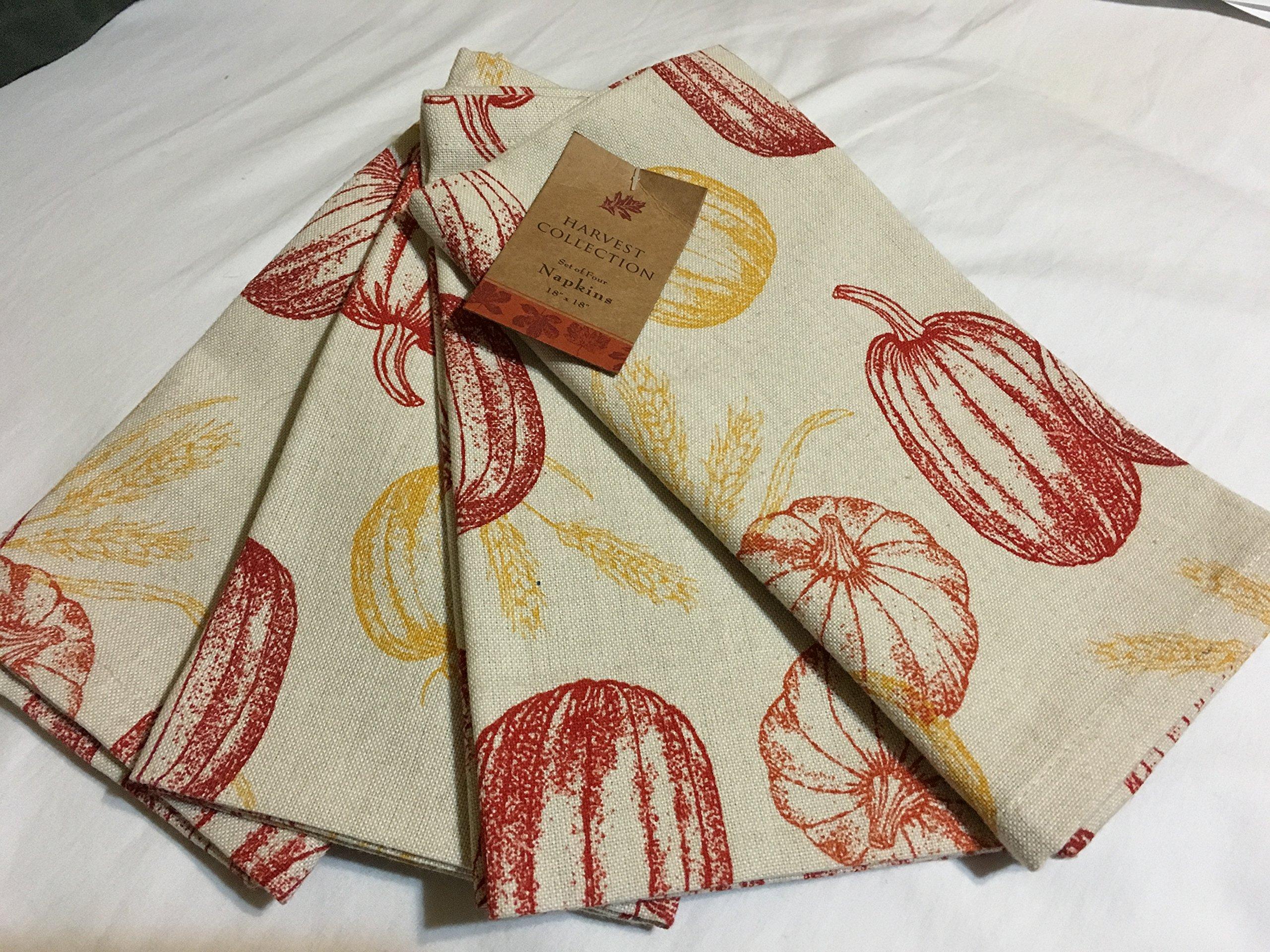 Harvest Collection Fall Pumpkin Thanksgiving Napkin Set of 4