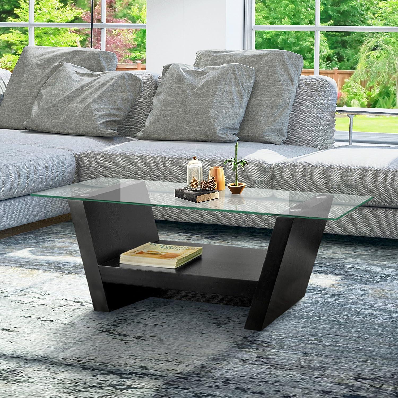 Amazon ioHOMES Hudson Coffee Table with Glass Top Black